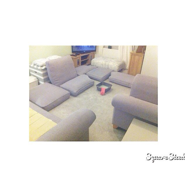 Cleaning A Fabric Sofa Using Warm Water I Added Vanish Stain Remover And Non Bio Washing Powder And A Drop Of Fbree Fabric Sofa Washing Powder Sectional Couch