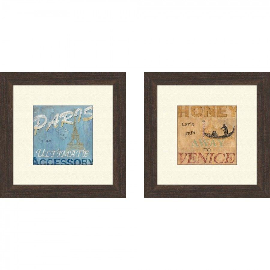 Pro Tour Memorabilia Vintage Paris Framed Art Brown (Set of 2) - 1 ...