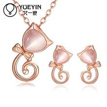 Gnzoe Fashion Jewelry Womens Bracelet Earring and Necklace Sets Rose Gold Simple Curb Chain