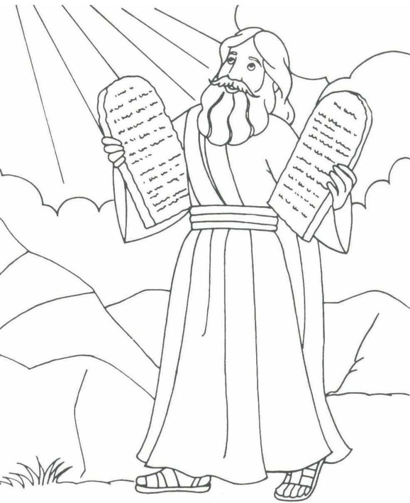 Coloring pages moses and ten commandments - Coloring pages moses holding the stone tablets of the 10 commandments