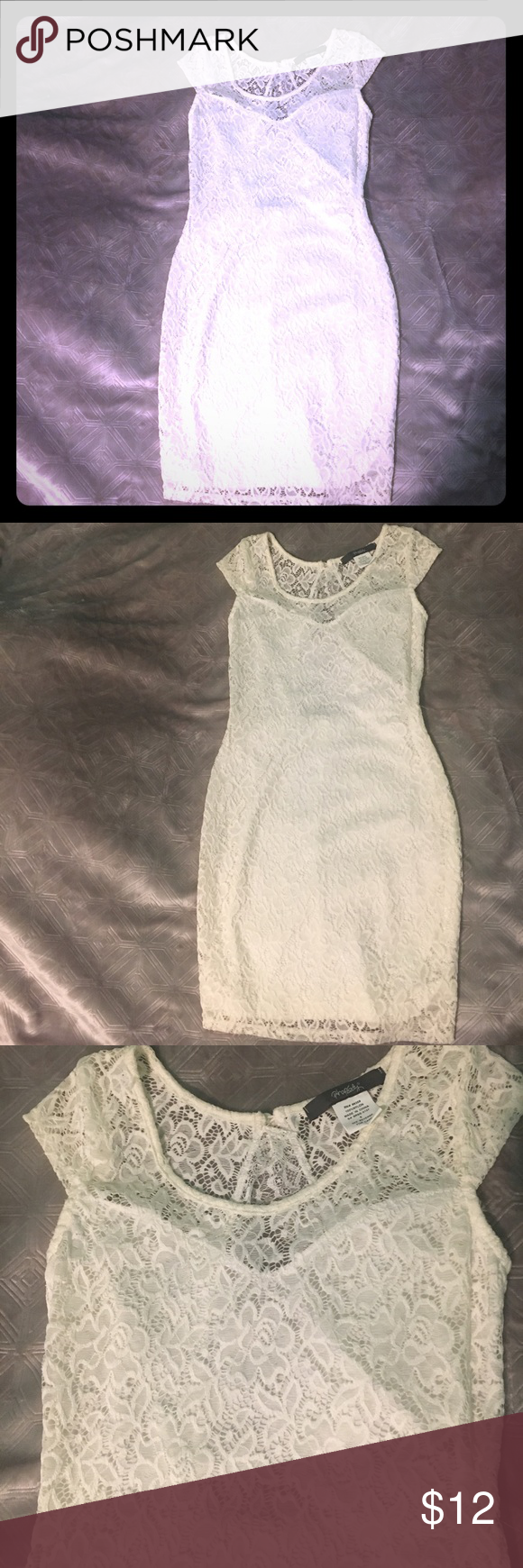 White lace dress Laced dress with open back cut out. Dresses Mini