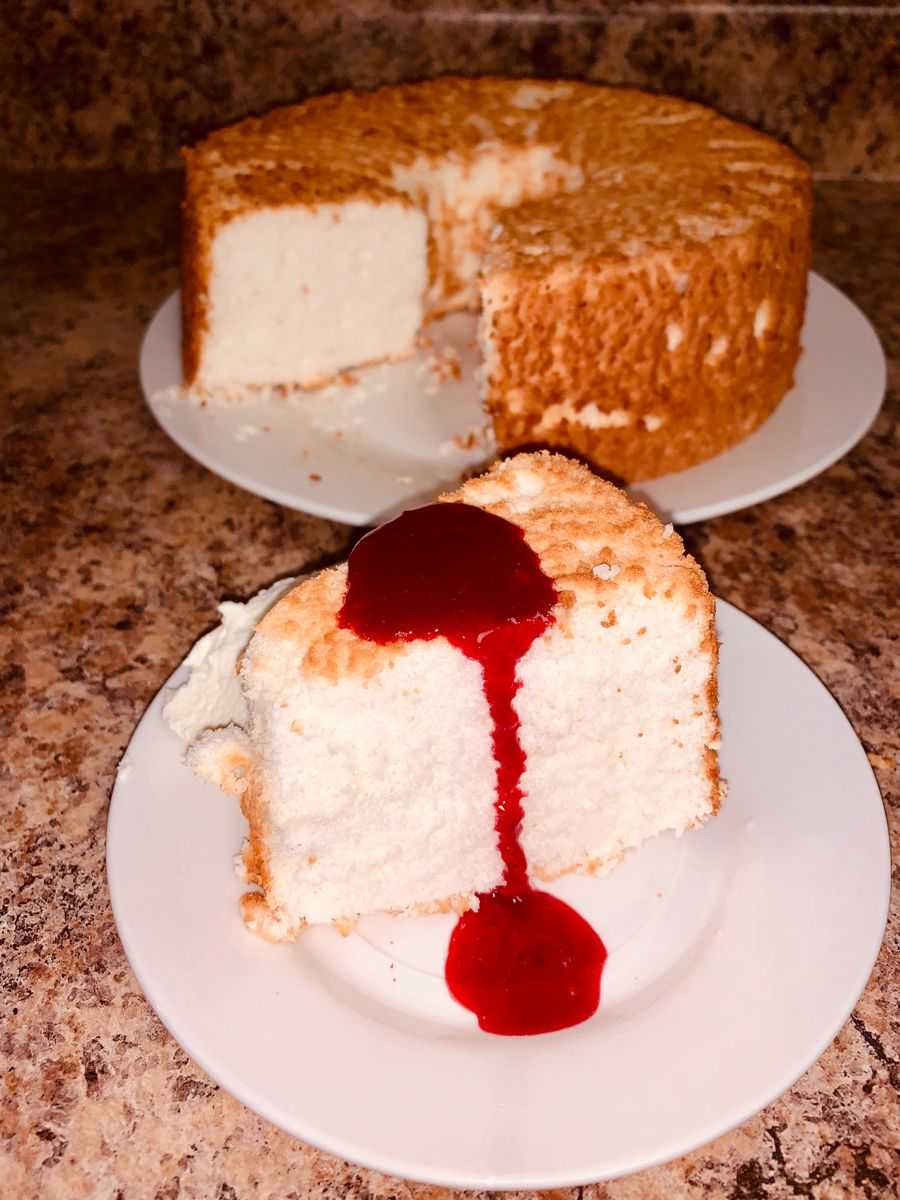 Homemade angel food cake wcranberry syrup in 2020 angel