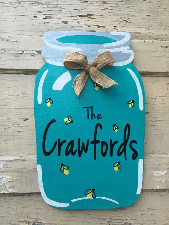 This Firefly Mason jar will look great on your door for the summer ...