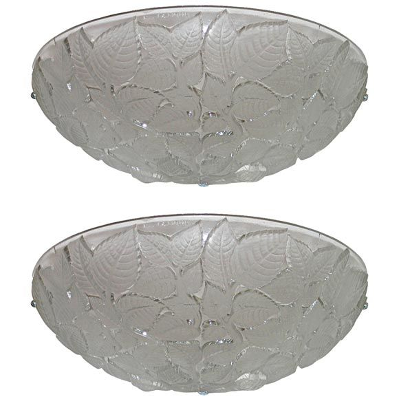 Pair of charmes art deco wall sconces by rene lalique from a unique