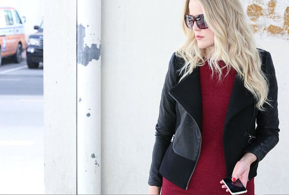 EW's Fashion & Beauty Writer Annah arrives at the office wearing a maroon shift dress, leather jacket and her favourite early- morning accessory… dark shades.