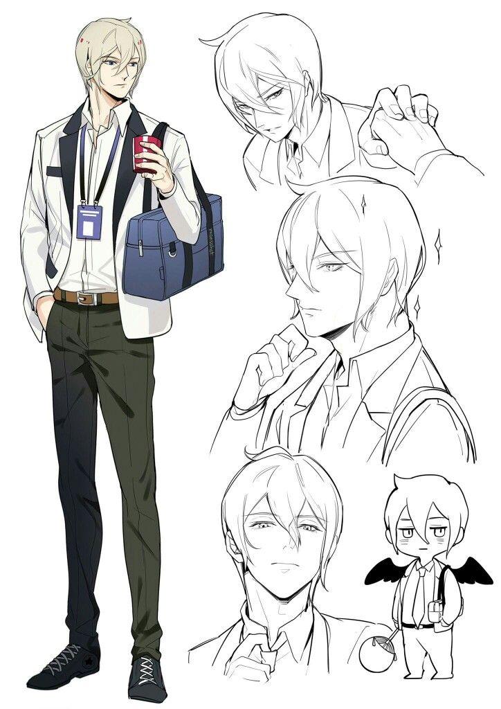 Male Character Reference Hair Pose Hand Head Anime Am Dương Nghệ Thuật