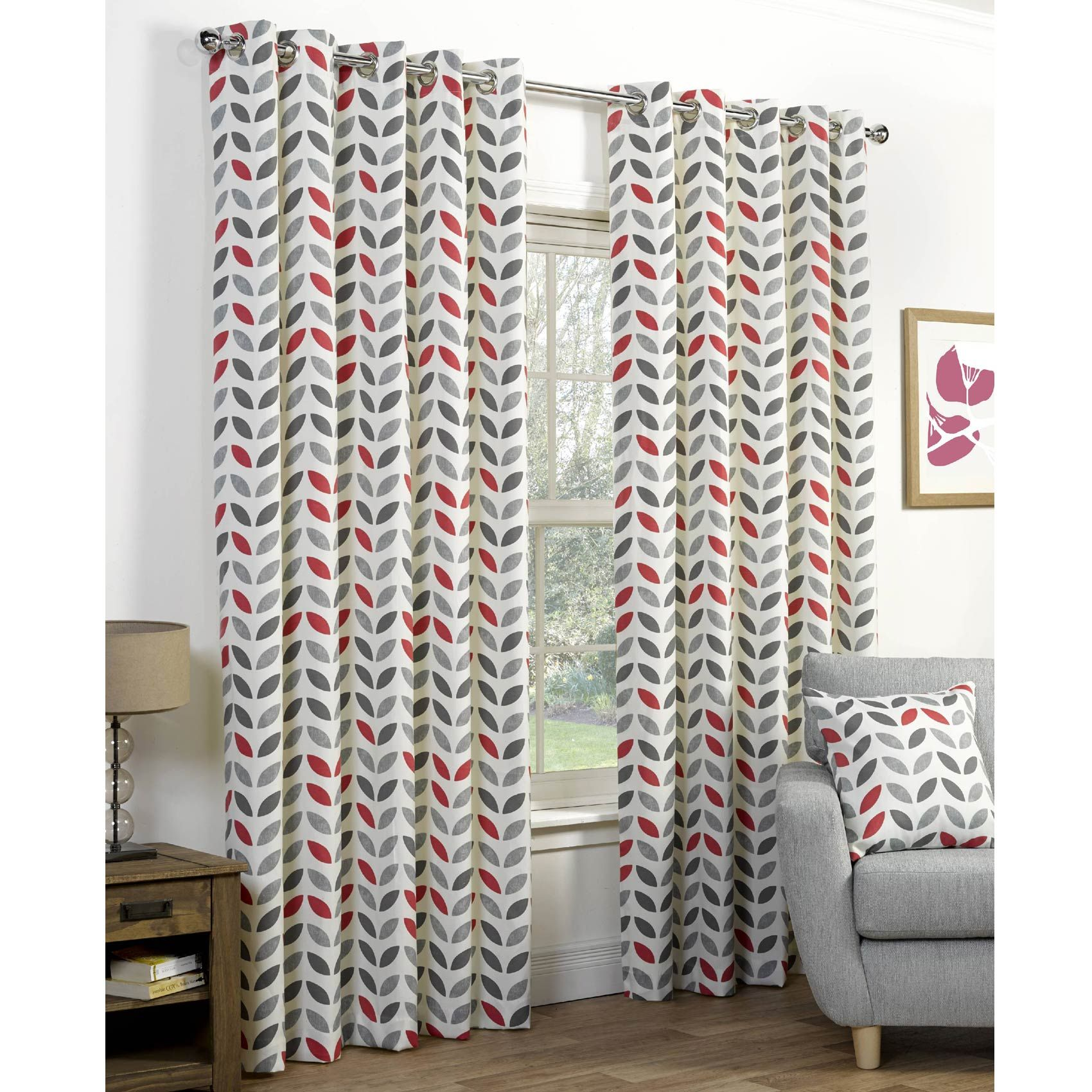 Neo Retro Eyelet Print Curtains, Grey / Red