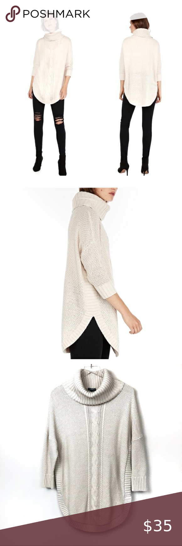 Express Cowl Neck Cable Knit Sweater Nwt Nwt In 2020 Cable Knit Sweaters