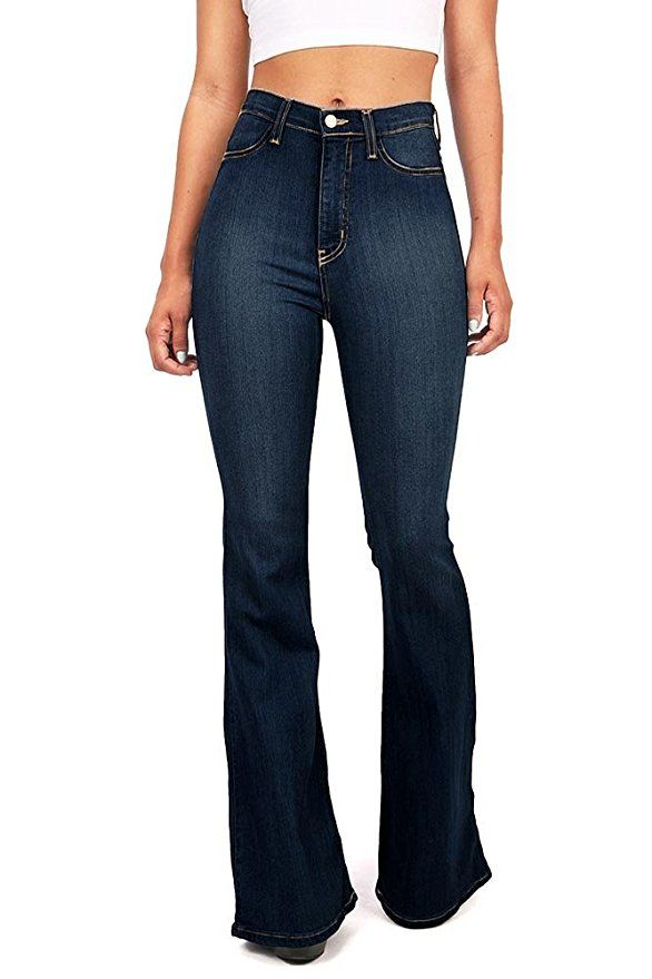 23c9b7084817b Vibrant Women s Juniors Bell Bottom High Waist Fitted Denim Jeans at Amazon  Women s Jeans store