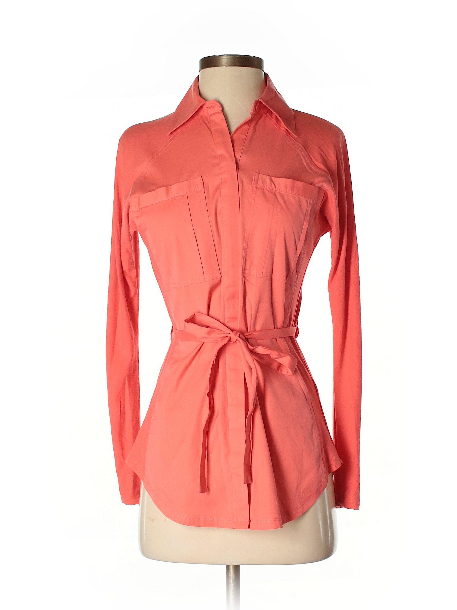 Foxford Long Sleeve Button Down Shirt Size 000 Coral Womens