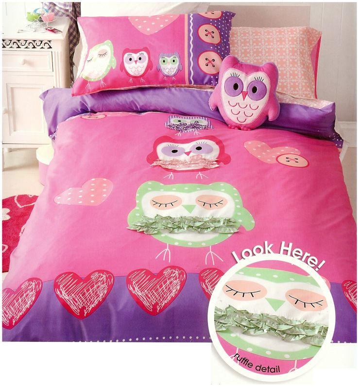 Little Owls Bedding Quilt Cover Set Single Girls Kids Pink