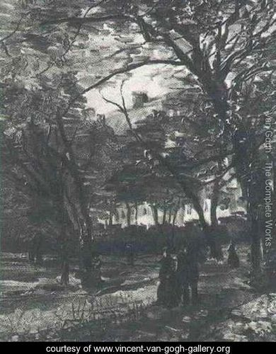 Bois De Boulogne With People Walking The II - Vincent Van Gogh - www.vincent-van-gogh-gallery.org