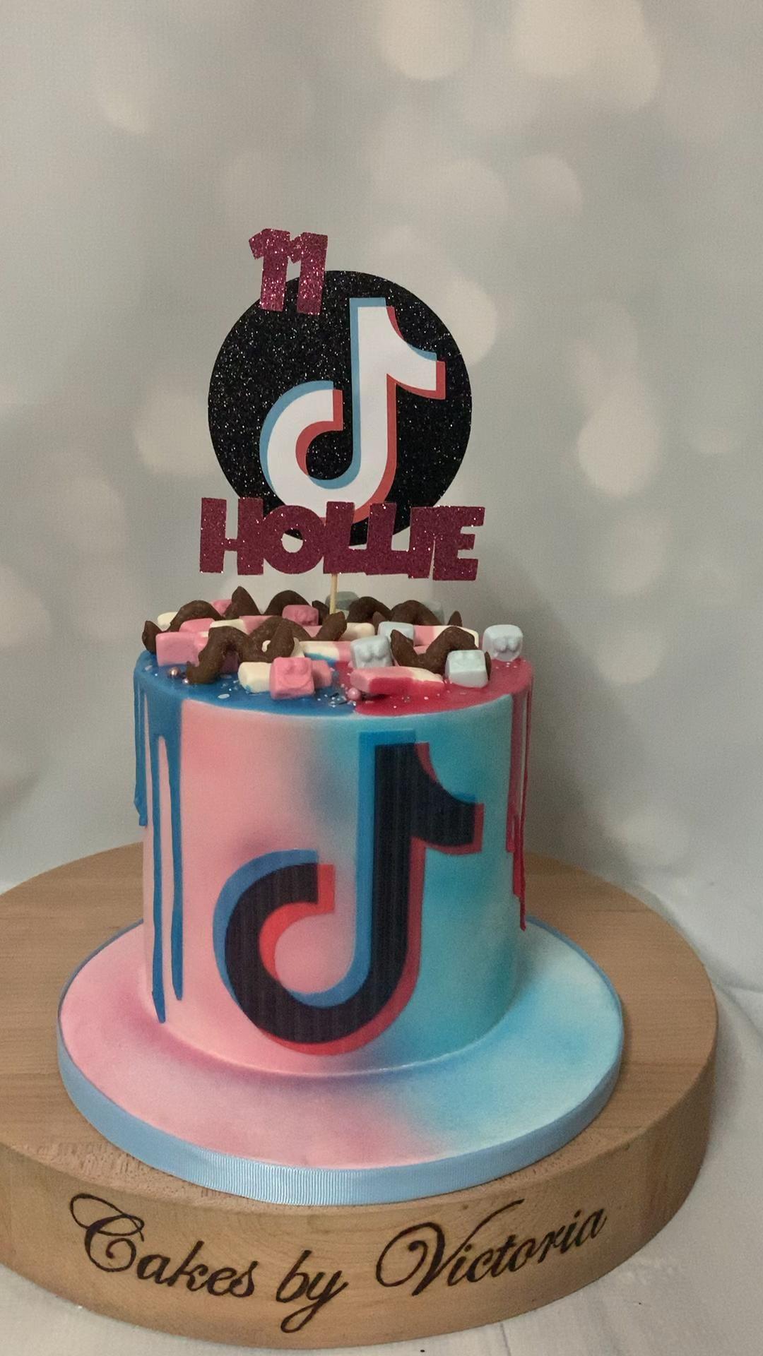 Tik Tok Theme Drip Cake Video In 2020 Cake Cake Decorating Techniques Rainbow Cake