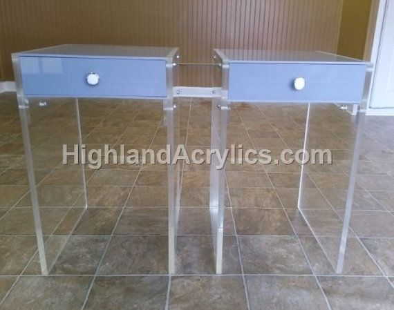 Grey Acrylic Table Top Single Drawer And Clear Acrylic Legs