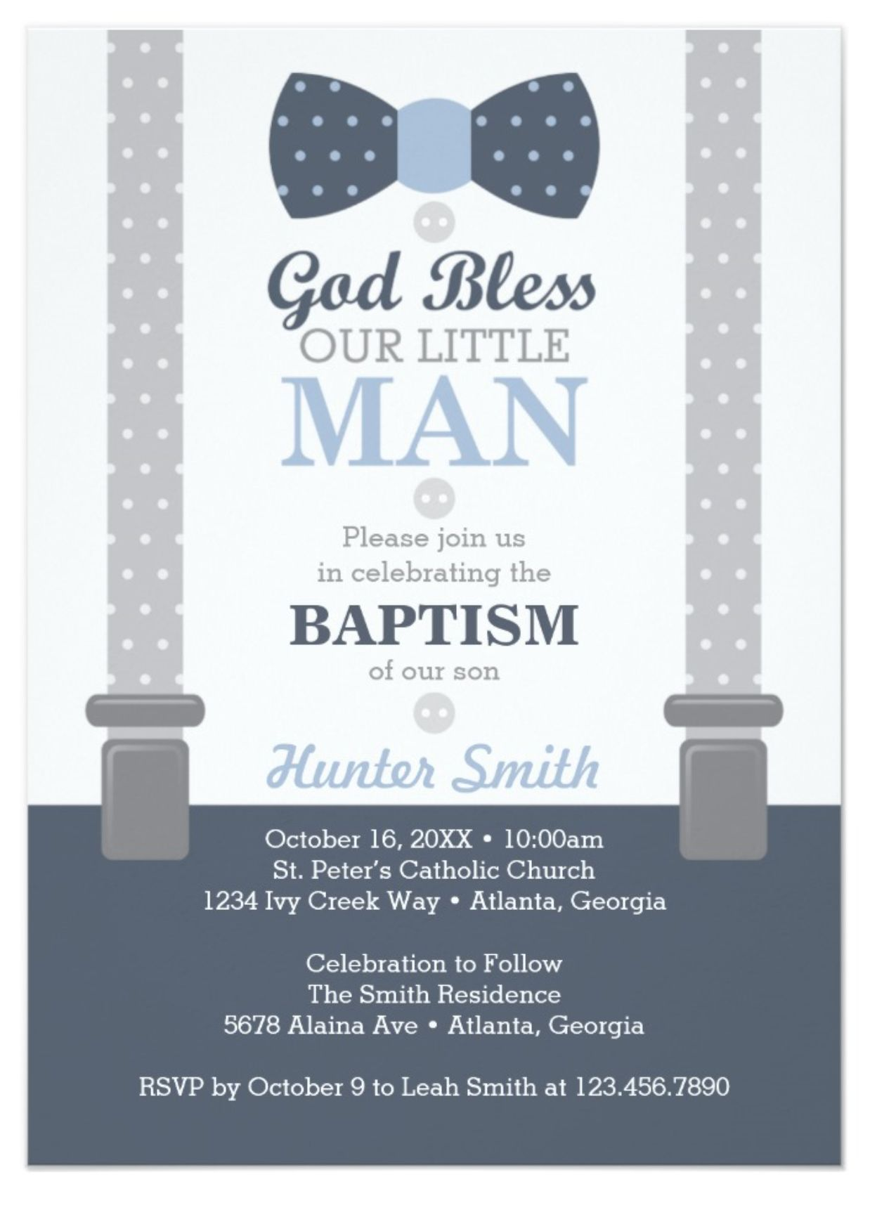 Little Man Baptism Invitation Navy Blue Gray Invitation