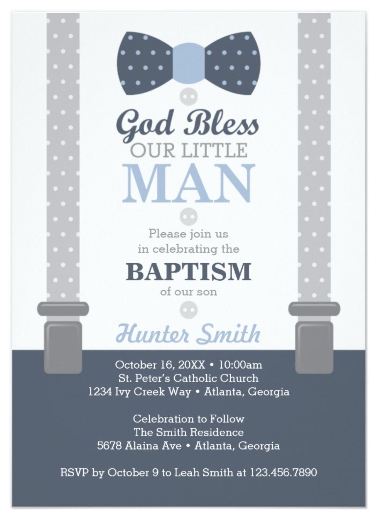 Little Man Baptism Invitation Navy Blue Gray Invitation Baptisms