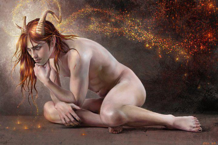 Theme, Demon and naked girl art
