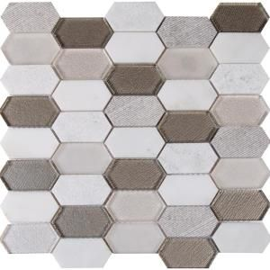 Ms International Inessa Blanco Picket Pattern 12 In X 8 Mm Gl And Stone Mesh Mounted Mosaic Tile 10 Sq Ft Case Gray