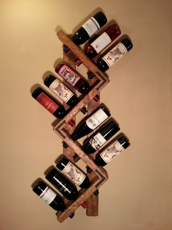Wine rack 12 bottle unique wine holder by for Wine bottle shelf diy