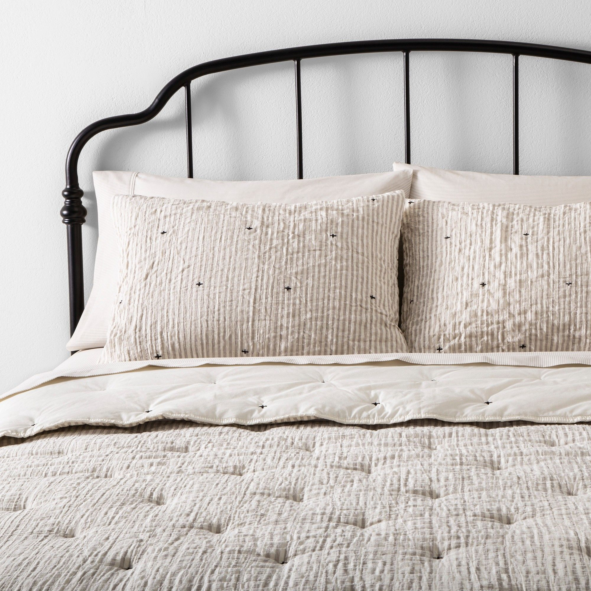 Photo of Twin Simple Stripe with Stitch Embroidery Comforter Set Taupe / Sour Cream – Hearth & Hand™ with Magnolia