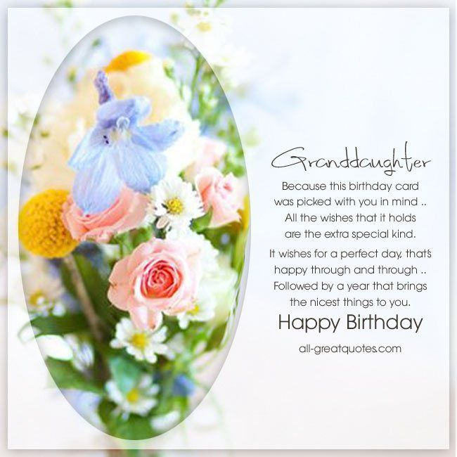 Happy Birthday Special Granddaughter Free Birthday Card Granddaughter Birthday Birthday Verses For Cards