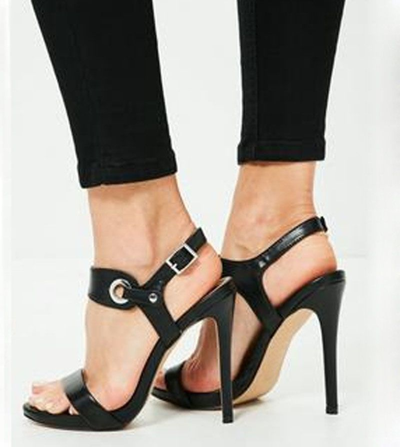 63a788b3ae04 Black Barely There High Heels Sandals - Missguided. Find this Pin and more  on Women s Shoes ...