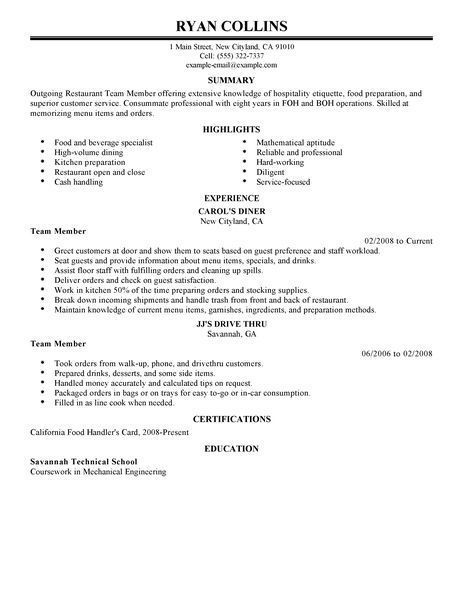 Resume Objective Examples Restaurant Server Team Member