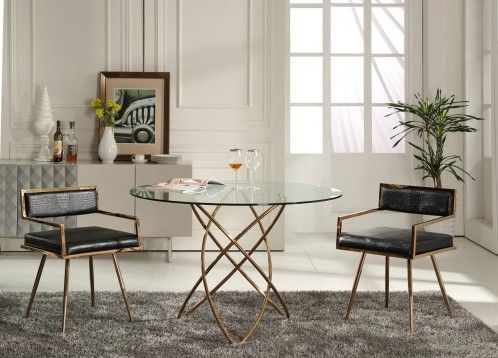 Modrest Rosario Modern Round Rosegold Dining Table Dining Table