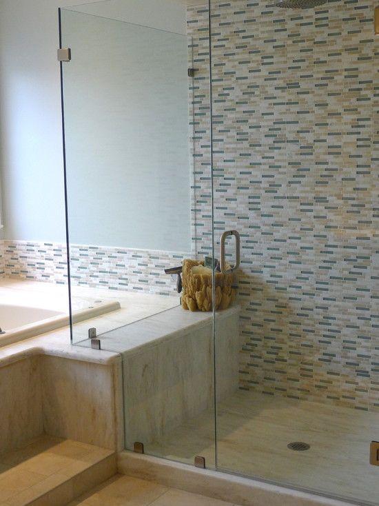 Pretty Tiles Tub Deck Becomes Shower Bench Shower Bench Bathroom Remodel Designs Sunken Tub