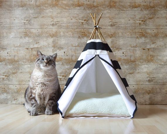 cat bed cat teepee dog teepee with cushion by hiptepeehooray crafty cats and artful felines. Black Bedroom Furniture Sets. Home Design Ideas