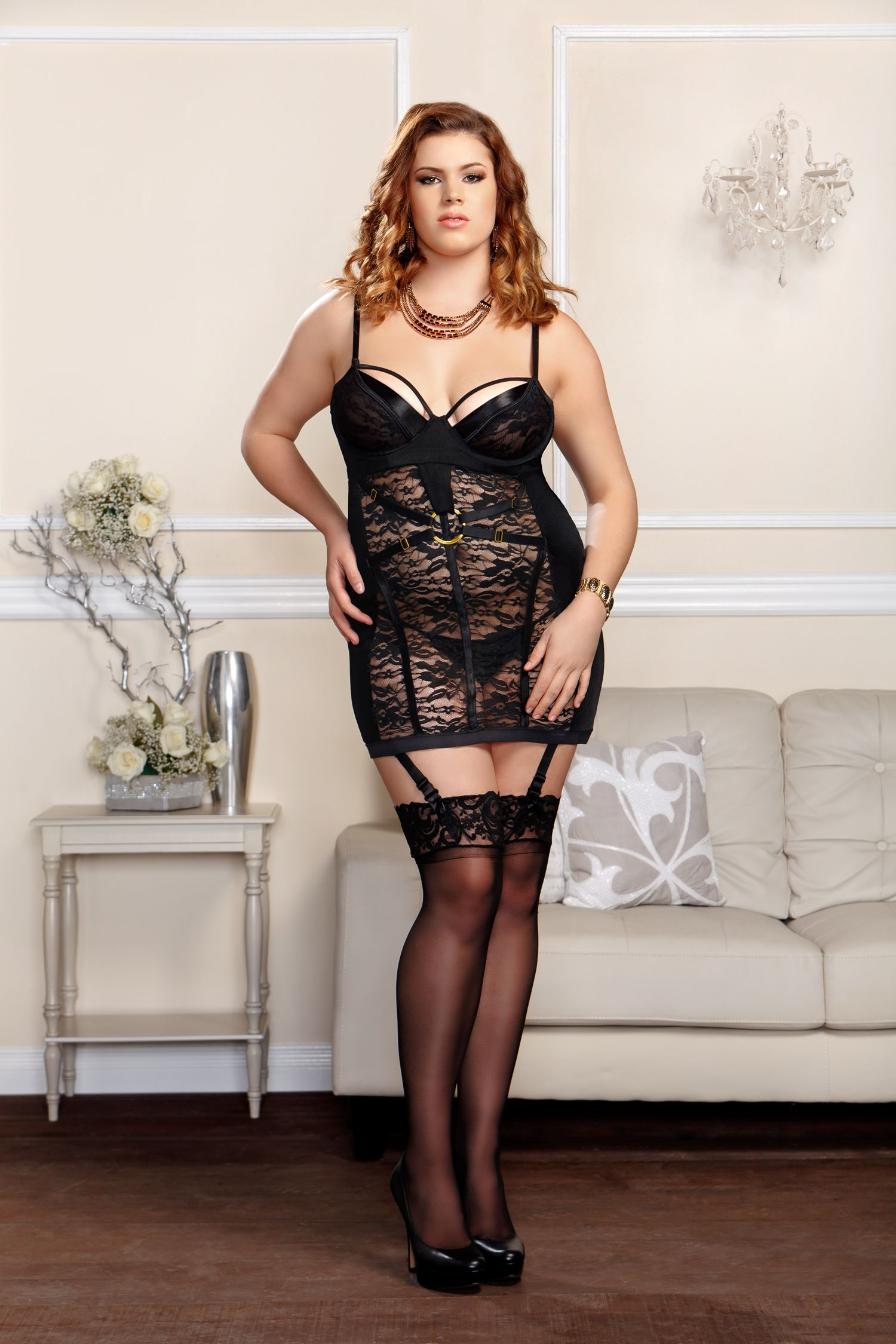 Floral Lace Chemise with Garters