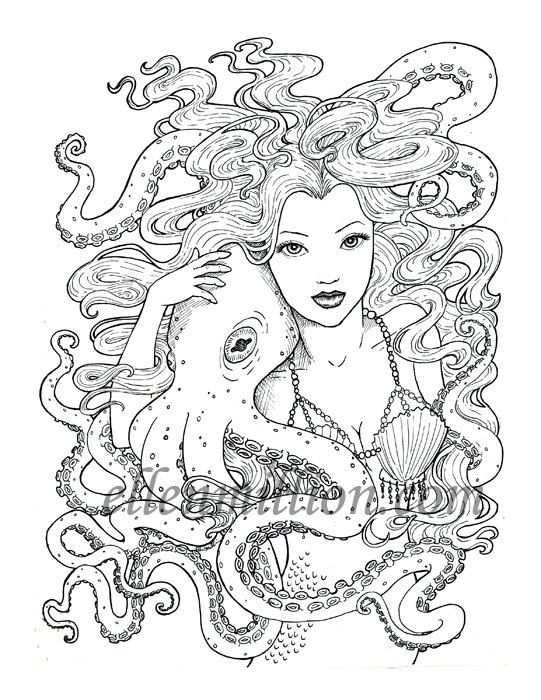 Tentacle Friends Beautiful Mermaid Octopus Digi Stamp Digital Coloring Page For Adults