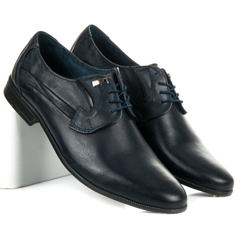 Polbuty Meskie Lucca Niebieskie Eleganckie Polbuty Ze Skory Lucca Dress Shoes Men Oxford Shoes Dress Shoes