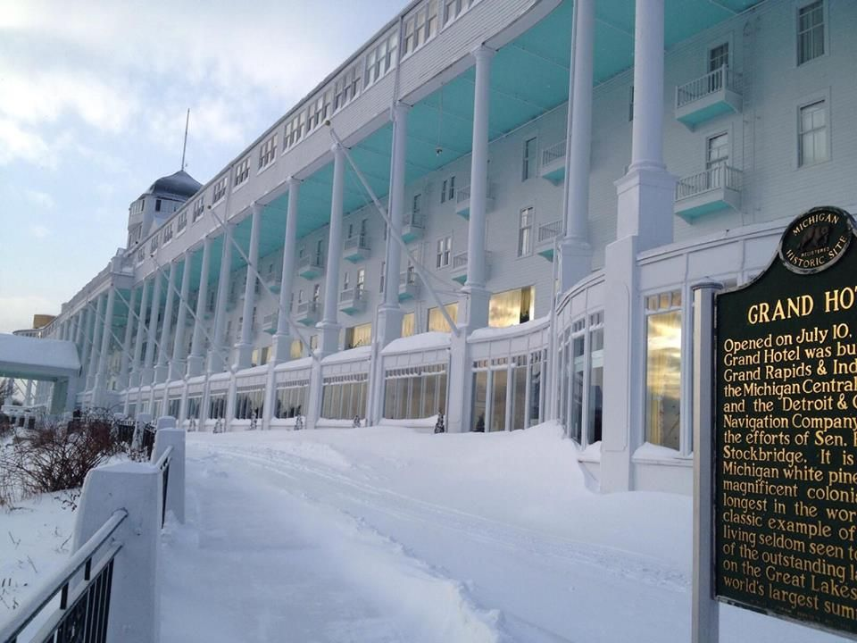 The Grand Hotel Mackinac Island In It S Winter Blanket Of Snow Sleeping Waiting For Spring Grand Hotel Mackinac Island Mackinac Island Mackinac