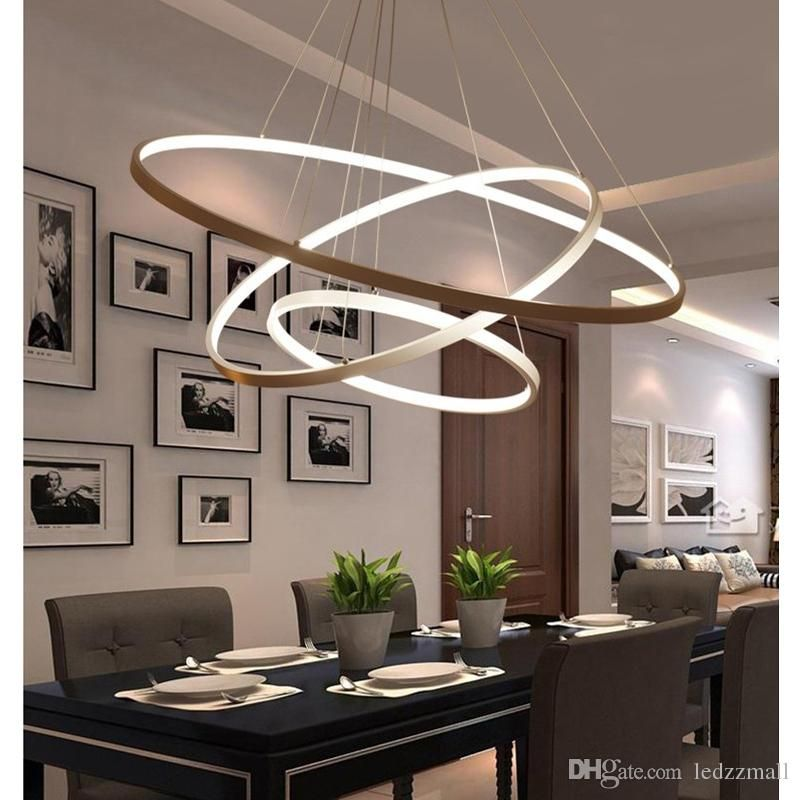 Modern Circular Ring Pendant Lights 3 2 1 Circle Rings Acrylic Aluminum Body Led Lighting Lighting Ceiling Lamp Dining Room Light Fixtures Dining Room Lighting