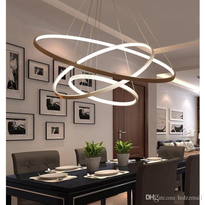 Modern Circular Ring Pendant Lights 3 2 1 Circle Rings Acrylic