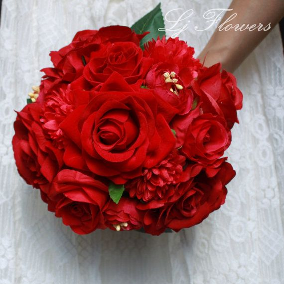 8 inches Handmade Silk Red Roses & Dahlias Mixed by LjFlower