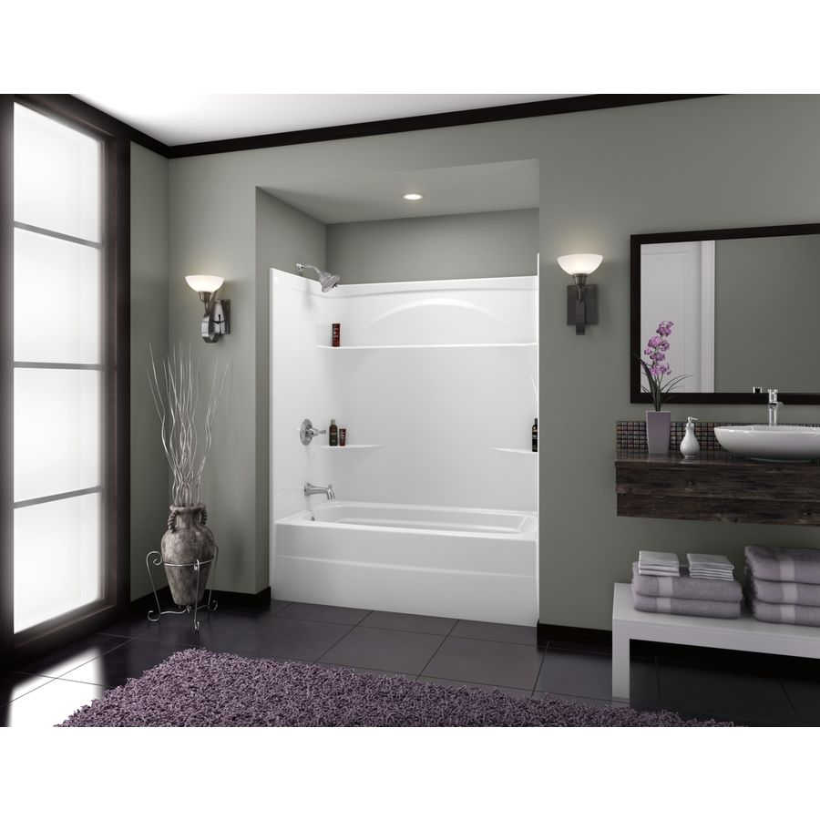 Shop Delta White Acrylic One-Piece Shower with Bathtub (Common: 32 ...