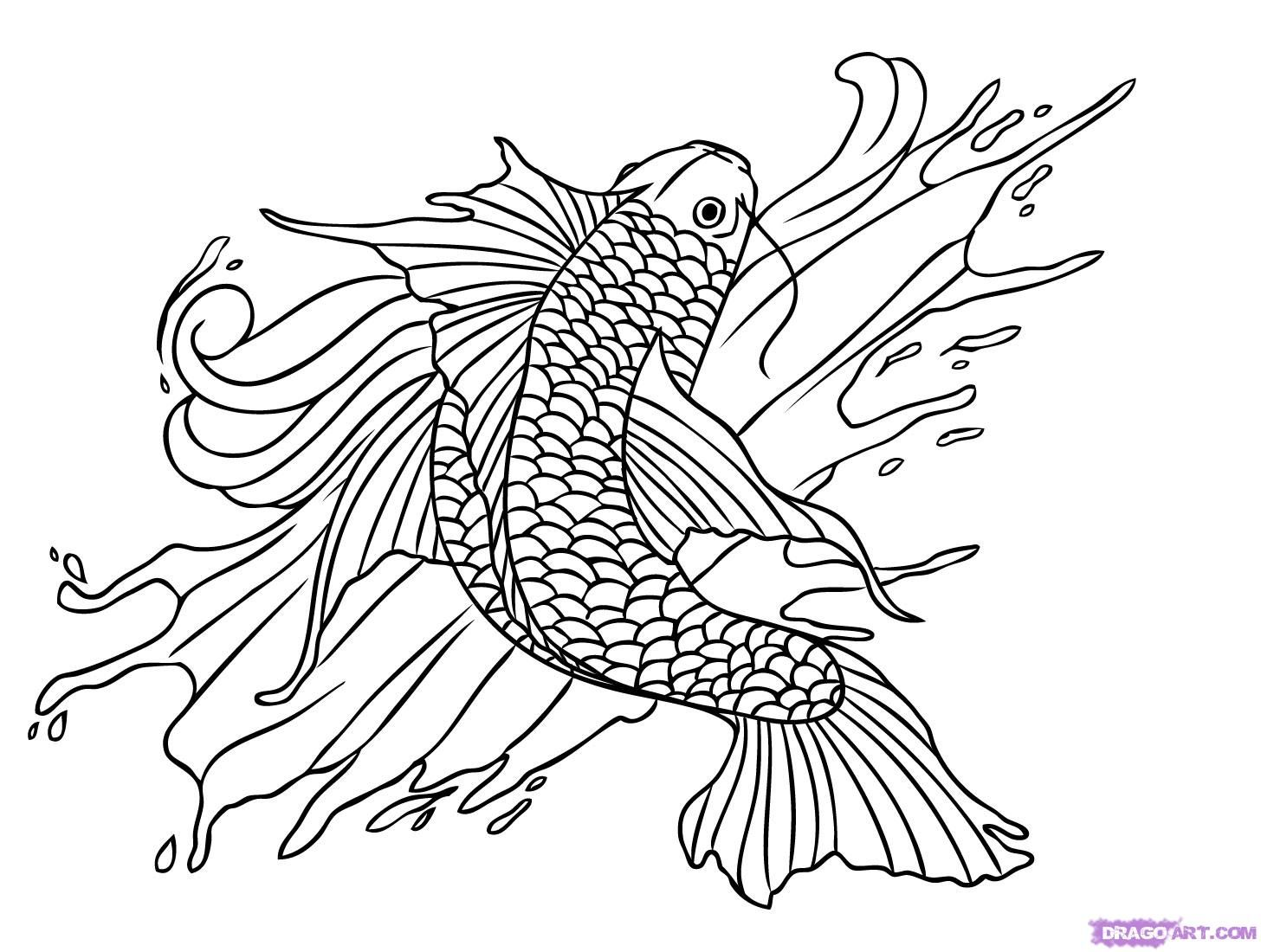 Tattoo Coloring Pages Printable | Koi Fish Tattoo Designs ...