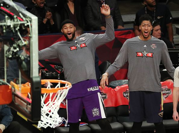 sacramentokings F C DeMarcus Cousins   New Orleans Pelicans C Anthony  Davis react to the spectacle put on by Kevin Hart from three-point range. 171e4d1cb