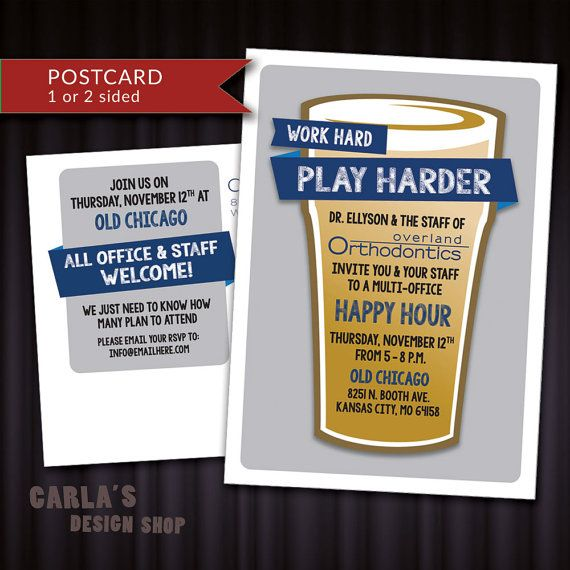 Beer Glass Office Party Happy Hour Get Together PRINTABLE Invitation