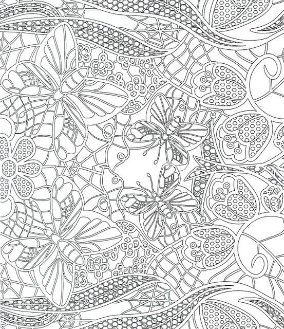 Butterfly Flower Pattern free printable adult coloring ...