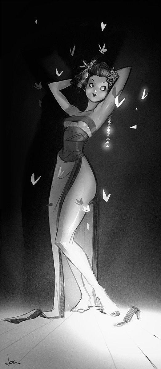 Butterfly pin up, Jocelyn Millet on ArtStation at https://www.artstation.com/artwork/XaW2n
