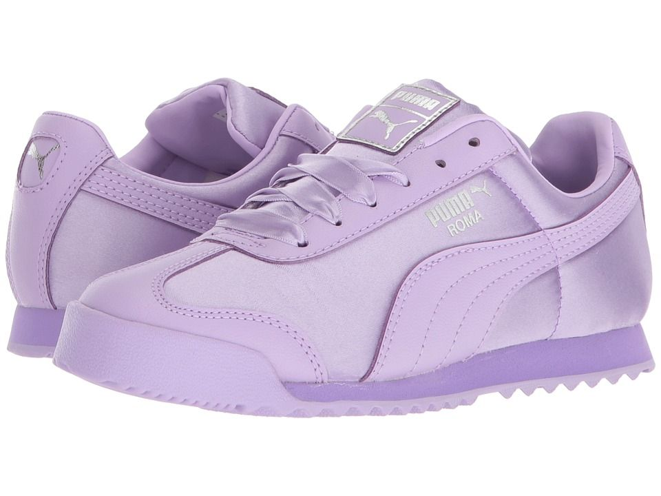 7d0631b3a0748d Puma Kids Roma Satin PS (Little Kid Big Kid) Girls Shoes Purple Rose Silver