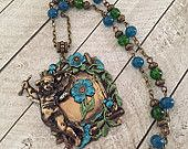 Teal and emerald green cherub necklace valentines day oendant crackle bead necklace garden trellis necklace rustic antique brass nature