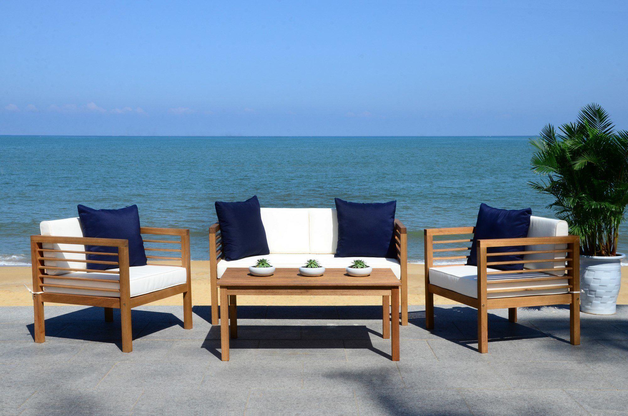 Pierce 4 Piece Lounge Seating Group with Cushion ... on Safavieh Alda 4Pc Outdoor Set id=42173