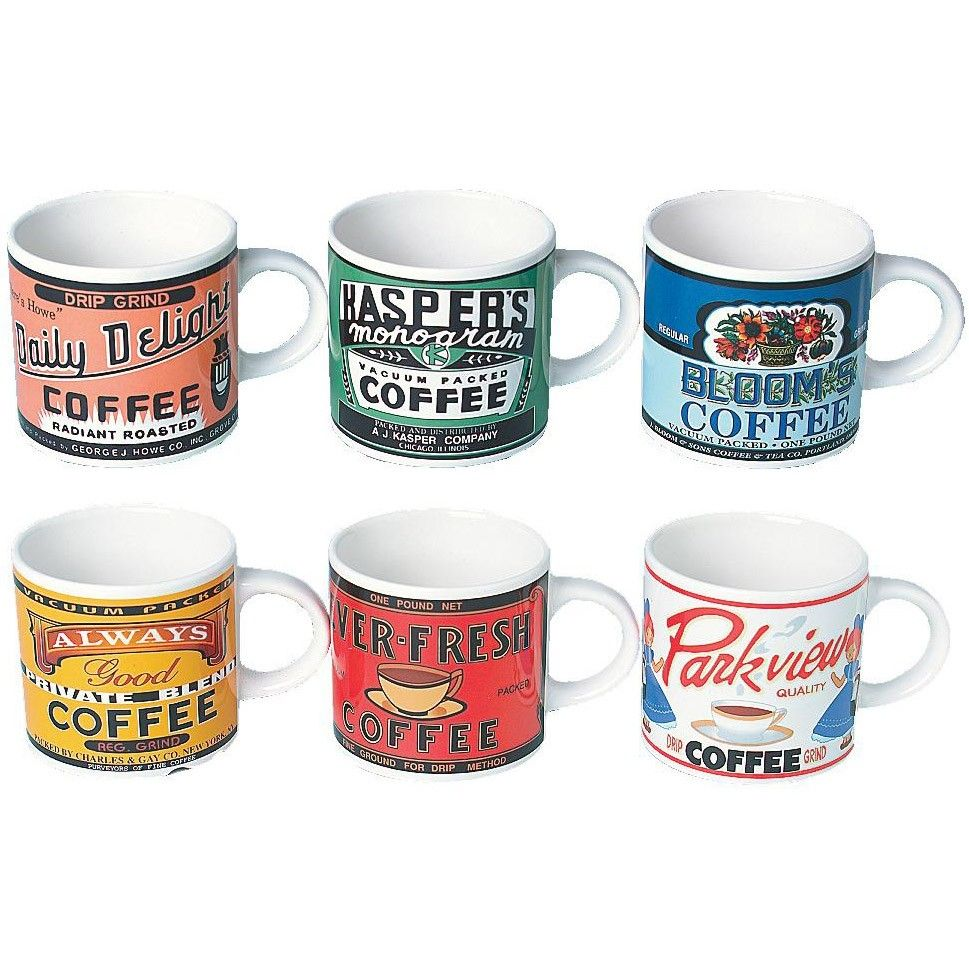coffee mug sets retro coffee mugs set of 6 we own some if these home 30017
