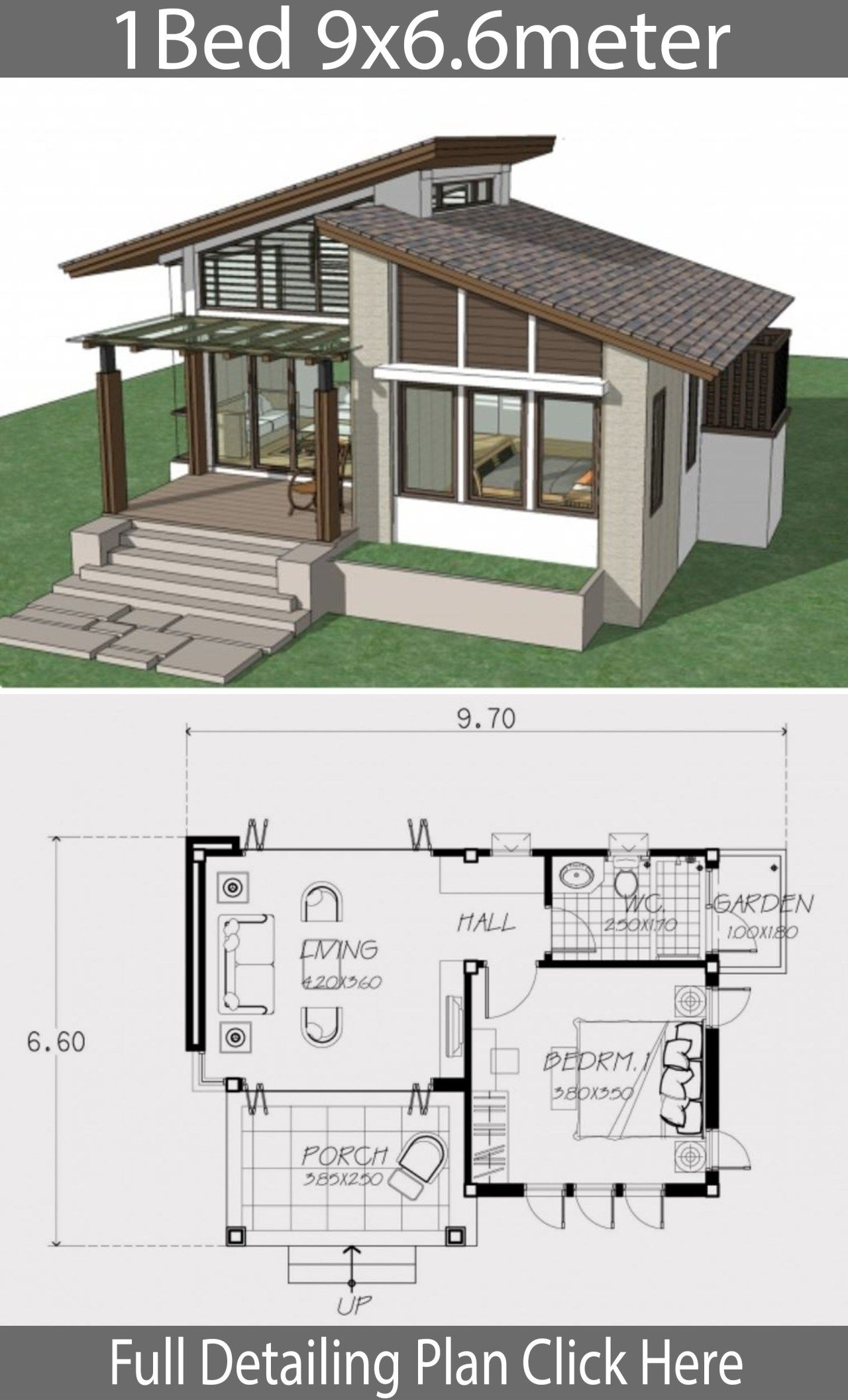 Small Home Design Plan 9x6 6m With One Bedroom Home Ideas One Bedroom House Modern Bungalow House Small House Style