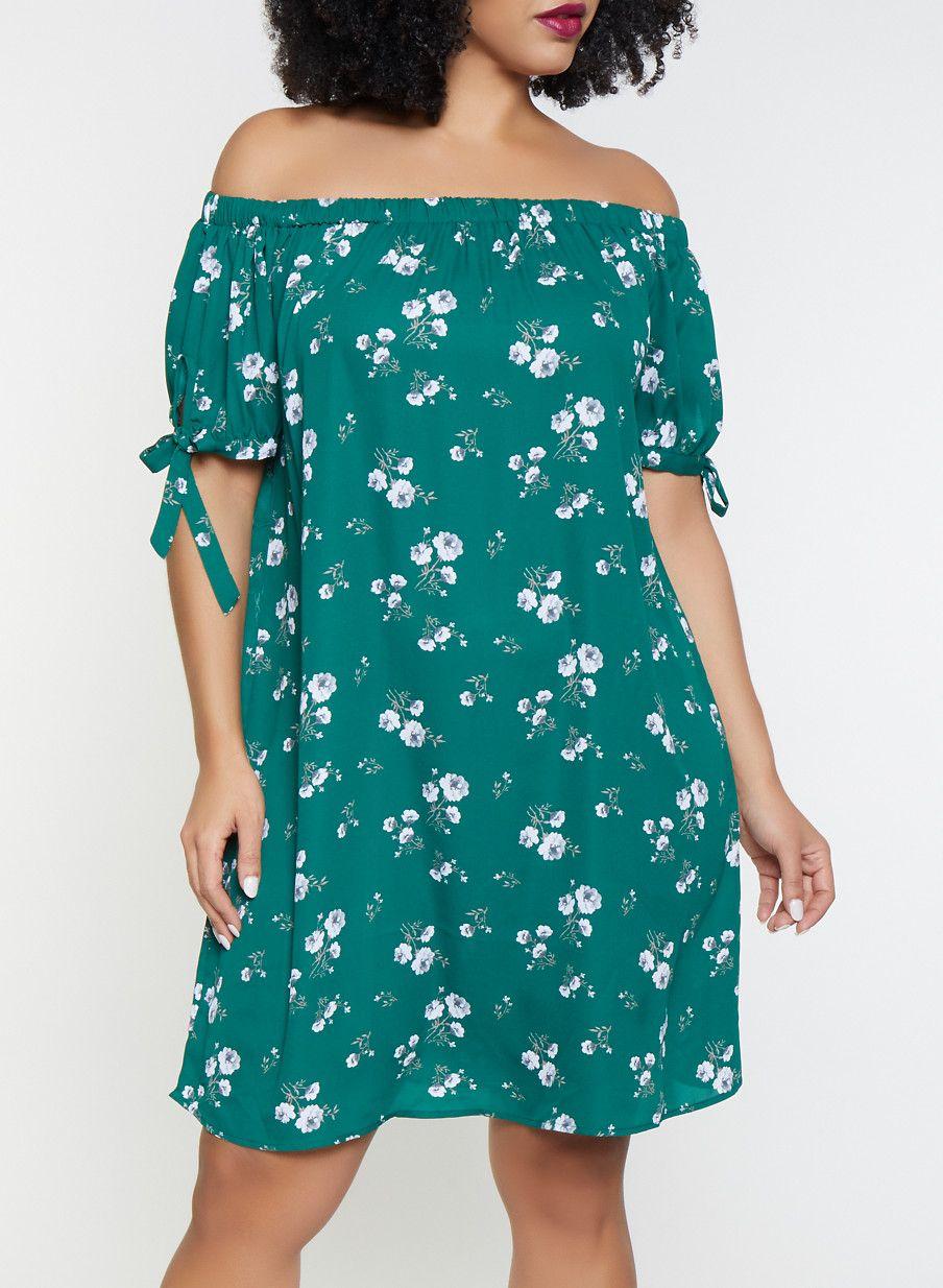 bac4c0e88cb9 Plus Size Printed Off the Shoulder Dress -