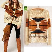 Women Aztec Knitted Scoop Neck Geometric Print Jumper Sweater Pullover Knitwear-sweater sweater sweater sweater.